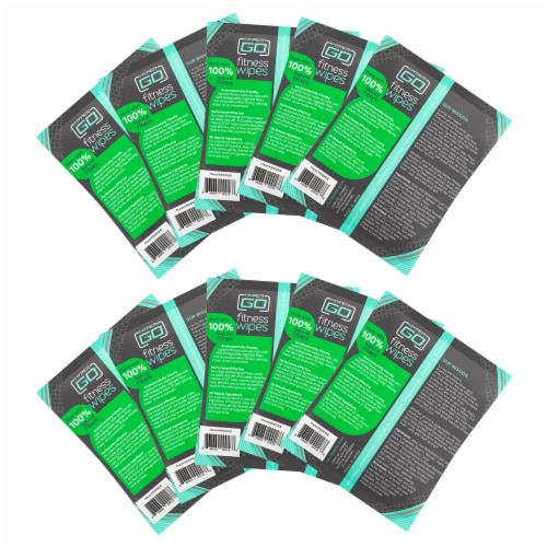HyperGo Full Body Fitness Wipes, Refreshing Mint Scent, (10 Individually Wrapped Wipes) Perspective: back