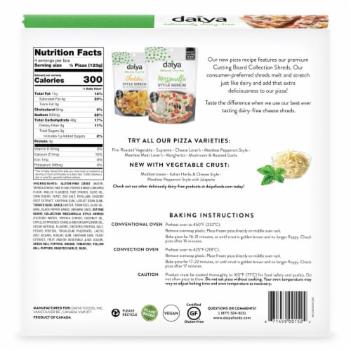 Daiya Gluten-Free Fire-Roasted Vegetable Pizza Perspective: back