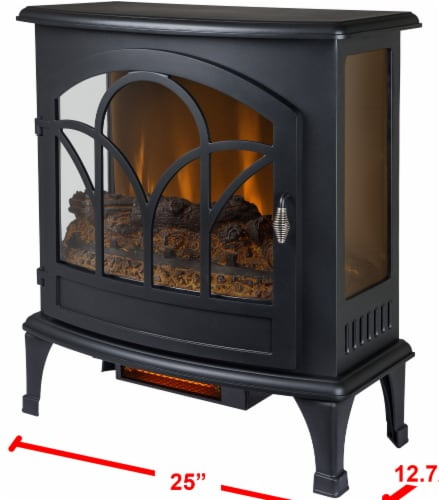 Pleasant Hearth Curved Front Infrared Panoramic Electric Stove - Black Perspective: back