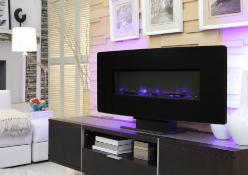 Muskoka Curved Front Wall Mount Glass Fireplace - Black Perspective: back