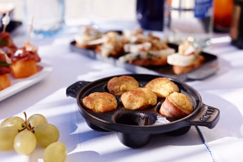 Staub Cast Iron 5.75-inch Escargot Dish with 6 holes - Matte Black Perspective: back