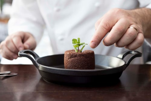 Staub Cast Iron 4.5-inch Mini Round Gratin Baking Dish - Matte Black Perspective: back