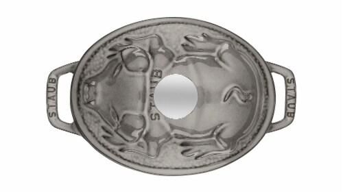 Staub Cast Iron 1-qt Pig Cocotte - Graphite Grey Perspective: back