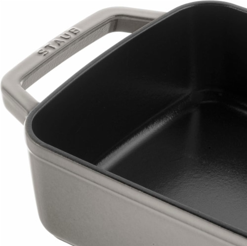 Staub Cast Iron 12-inch x 8-inch Roasting Pan - Graphite Grey Perspective: back
