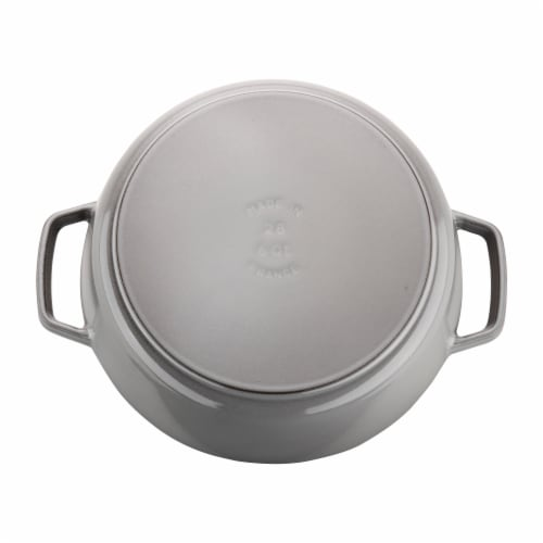 Staub Cast Iron 6-qt Cochon Shallow Wide Round Cocotte - Graphite Grey Perspective: back