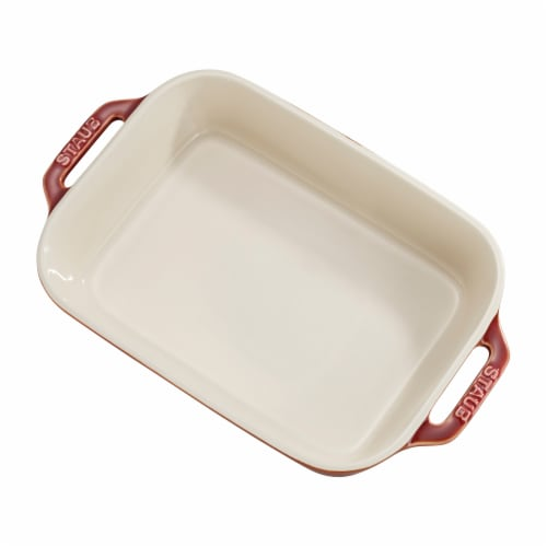 Staub Ceramic 2-pc Rectangular Baking Dish Set - Rustic Red Perspective: back