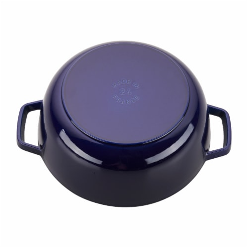 Staub Cast Iron 3.75-qt Essential French Oven Rooster - Dark Blue Perspective: back