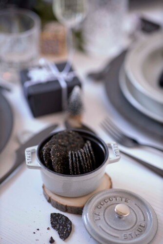 Staub Cast Iron .25-qt Mini Round Cocotte - White Truffle Perspective: back
