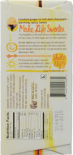 Theo Chocolate Ginger 70% Dark Chocolate Bar Perspective: back
