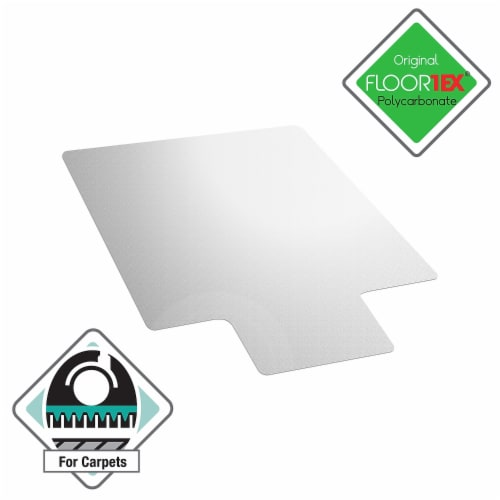 Floortex Solutions Ultimat 48 x 53 Inch Clear Office Floor Chair Mat with Lip Perspective: back