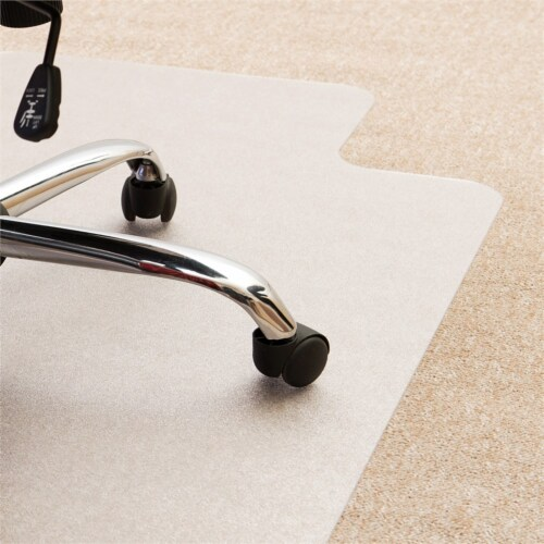 Floortex Ultimat 48 x 60  Clear Lipped Chair Mat w/ Grip Back, For Plush Carpet Perspective: back