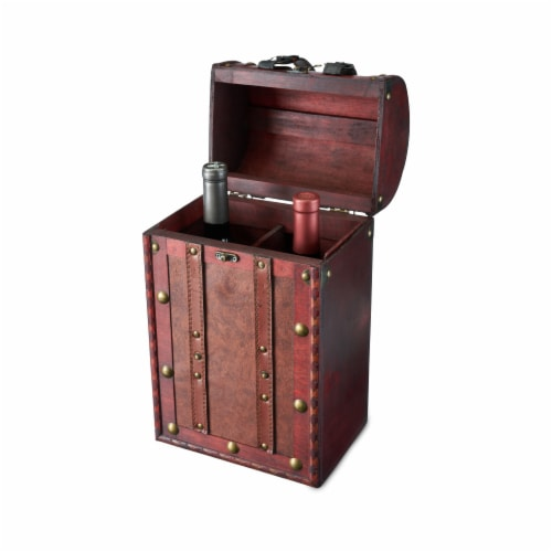2 Bottle Antique Wooden Wine Box by Twine® Perspective: back