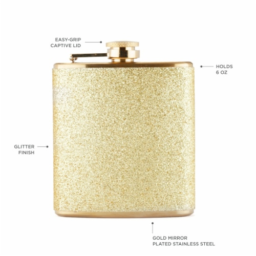 Sparkletini Stainless Steel Gold Flask by Blush® Perspective: back