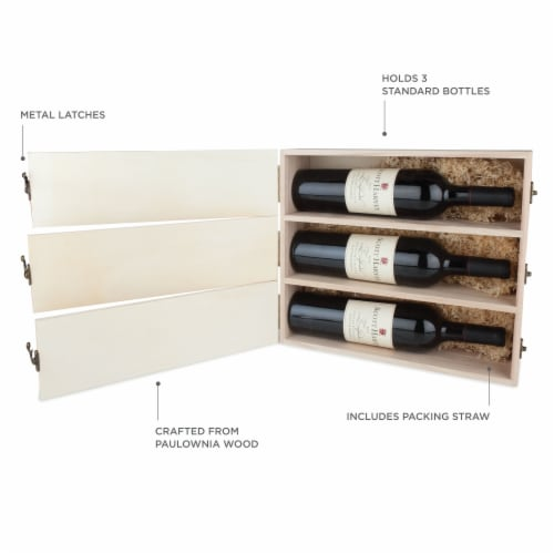 Newlywed's Anniversary Wooden Wine Box by Twine® Perspective: back