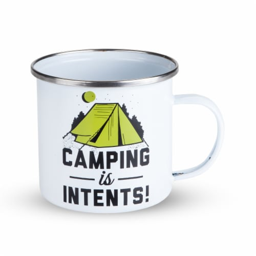 Foster & Rye 3858 Camping is Intents Enamel Mug, White Perspective: back