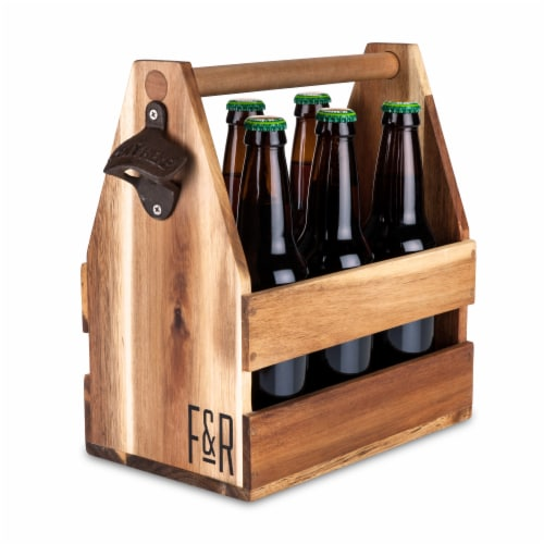 Foster & Rye Acacia Wood Beer Caddy Perspective: back