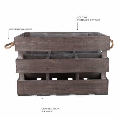 Wooden 6-Bottle Crate by Twine® Perspective: back