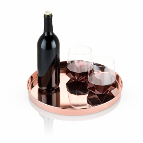 Round Copper Serving Tray by Viski® Perspective: back