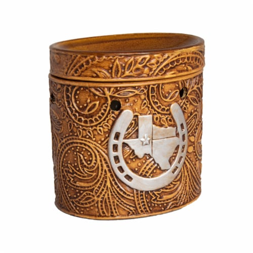 Scentsationals Texas Leather Embossed Full-Size Wax Warmer with 25 W Light Bulb Perspective: back