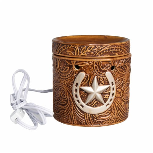 Scentsationals Home Fragrance Western Leather Emobossed Full-Size Wax Warmer with Light Bulb Perspective: back