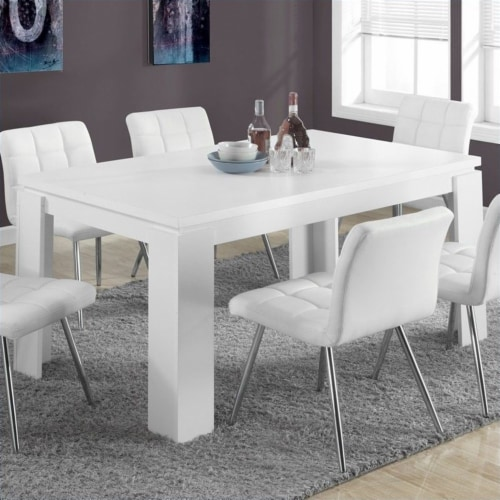 White Hollow-Core 36 X 60  Dining Table Perspective: back