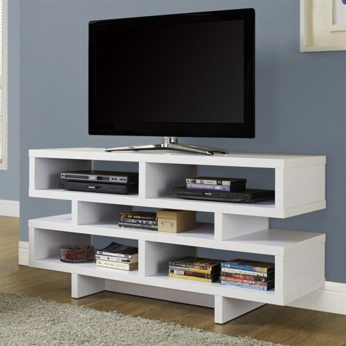 Monarch Hollow-Core 48  TV Console in White Perspective: back