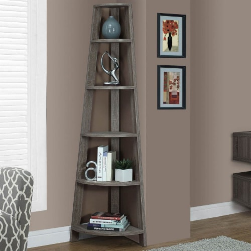 Corner Accent Etagere in Dark Taupe - Monarch Perspective: back