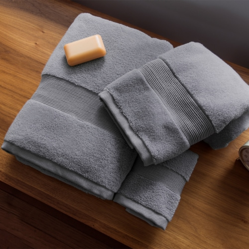 Miracle Cotton and Silver Ion Antimicrobial Premium Plush Bath Towel, Stone Perspective: back