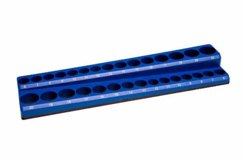 "Industro 30 Hole, 3/8"" Drive Metric Magnetic Socket Holder - Blue, Holds 30 Sockets Perspective: back"