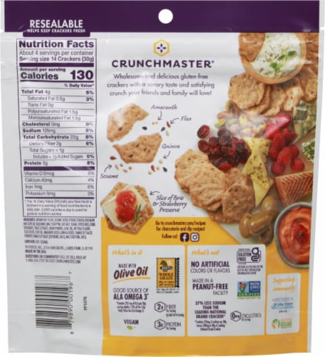 Crunchmaster Rosemary & Olive Oil Multi-Seed Crackers Perspective: back
