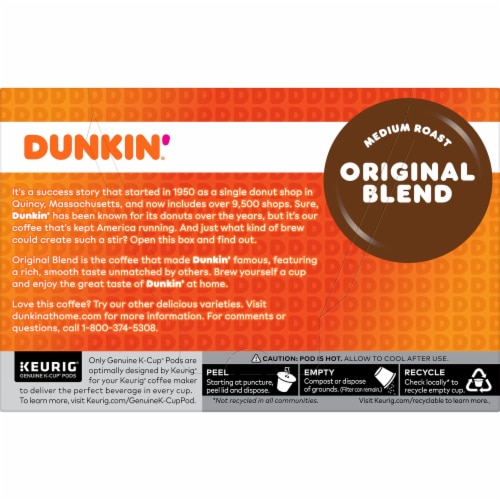Dunkin' Donuts Original Blend Coffee K-Cup Pods Perspective: back