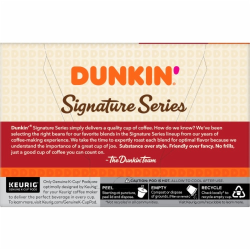 Dunkin' Signature Series Medium Roast Blend K-Cup Pods 10 Count Perspective: back