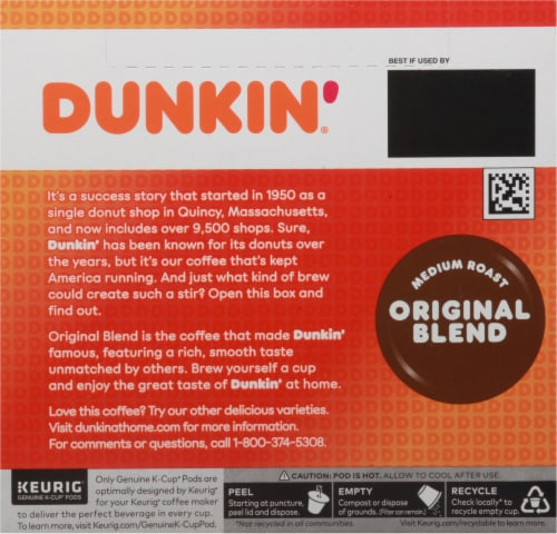 Dunkin' Donuts Original Blend Medium Roast Coffee K-Cup Pods Perspective: back