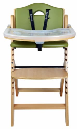 Abiie Beyond Wooden High Chair with Tray. (Natural Wood - Olive Cushion) Perspective: back