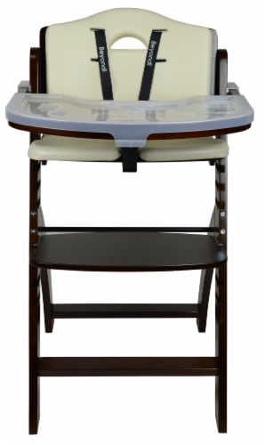 Abiie Beyond Wooden High Chair with Tray. (Mahogany Wood - Cream Cushion) Perspective: back