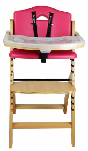 Abiie Beyond Wooden High Chair with Tray. (Natural Wood - Red Cushion) Perspective: back