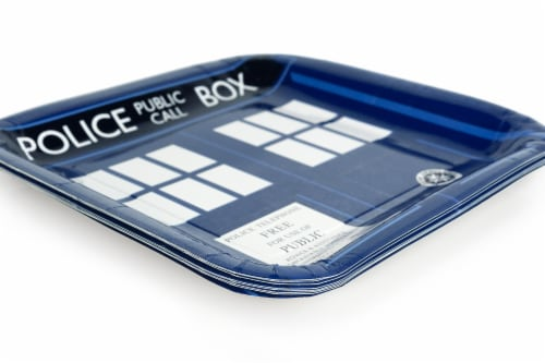"Doctor Who 9"" TARDIS Square Paper Plates, Set of 8 Perspective: back"