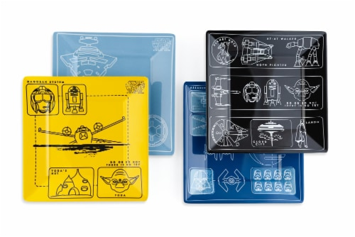 Star Wars Melamine Plate Set - 4 Pieces - Vehicle Schematics Perspective: back