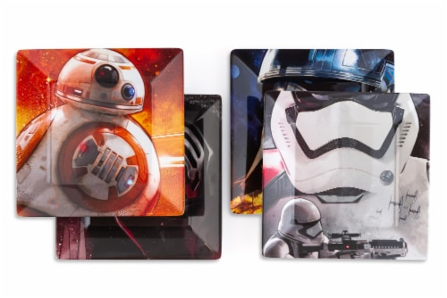 Star Wars Melamine Plate Set - 4 Pieces - Stormtrooper, Kylo Ren, and BB8 Perspective: back