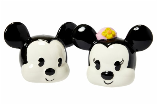 Disney Mickey Mouse & Minnie Mouse Salt & Pepper Shaker Set | Ceramic Shakers Perspective: back
