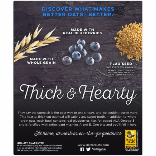 Better Oats Thick & Hearty Blueberry Muffin Instant Oatmeal Packets Perspective: back
