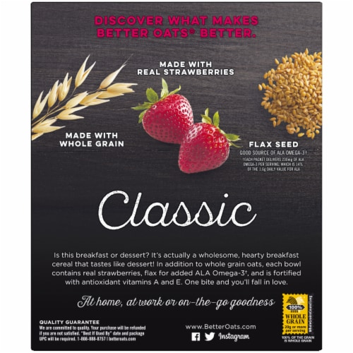 Better Oats® Classic Strawberry & Cream Instant Oatmeal Perspective: back