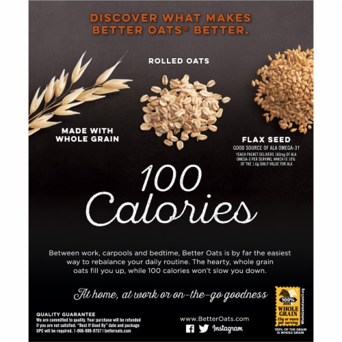 Better Oats® 100 Calories Cinnamon Roll Instant Oatmeal Perspective: back