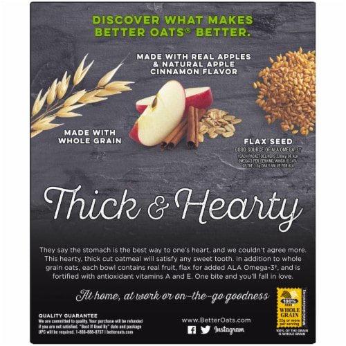 Better Oats Thick & Hearty Old Fashioned Apples & Cinnamon Oatmeal 10 Count Perspective: back