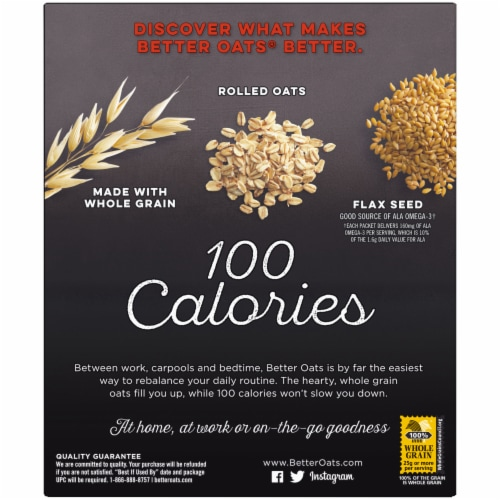 Better Oats 100 Calories Maple & Brown Sugar Instant Oatmeal 10 Count Perspective: back