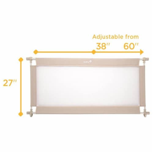 """Safety 1st 27"""" High Adjustable from 38-60"""" Wide Doorways Fabric Baby Gate, Cream Perspective: back"""