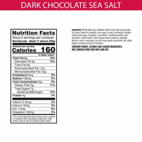 Bear Naked Dark Chocolate & Sea Salt Gluten Free Granola Bites Perspective: back