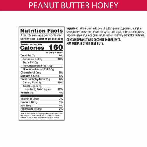 Bear Naked Peanut Butter & Honey Gluten Free Granola Bites Perspective: back