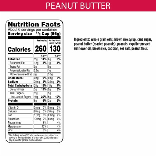Bear Naked Peanut Butter Granola Perspective: back