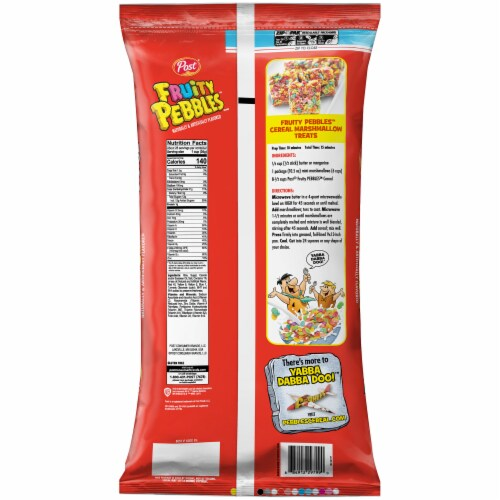 Fruity Pebbles Sweetened Rice Cereal Perspective: back